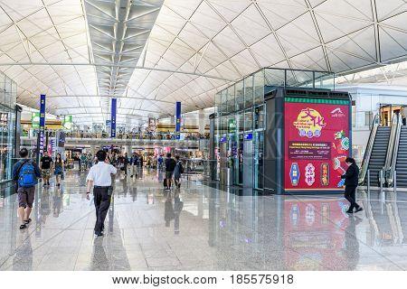Hong Kong international airport, Hong Kong, September 2016 -: Department hall in Hong Kong airport