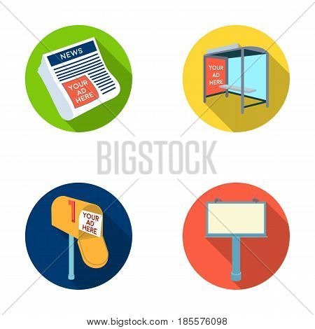 Newspapers, a bus stop, a mail box, a billboard.Advertising, set collection icons in flat style vector symbol stock illustration .