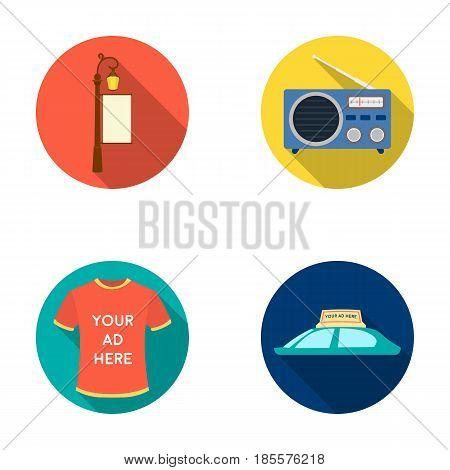 A lamppost with a sign, a T-shirt with an inscription, a radio, a car roof.Advertising, set collection icons in flat style vector symbol stock illustration .