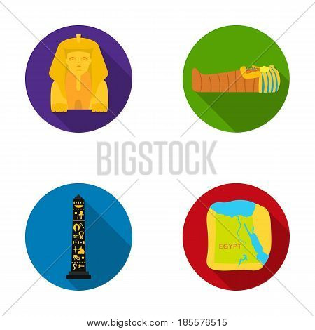 The territory of Egypt, the Sphinx, the pharaoh's sarcophagus, the Egyptian pillar with the inscription.Ancient Egypt set collection icons in flat style vector symbol stock illustration .