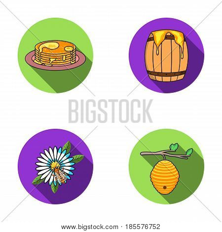 A hive on a branch, a bee on a flower, a honeycomb with honey, a honey cake.Apiary set collection icons in flat style vector symbol stock illustration .