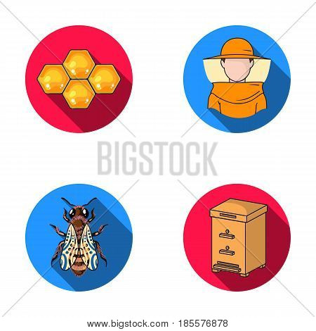 The bee, the bee-keeper in the mask, the honeycomb of the honey.Apiary set collection icons in flat style vector symbol stock illustration .