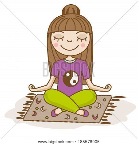 Girl doing yoga. Woman sitting in half lotus pose. Hand drawn vector illustration. Meditation pose with closed eyes