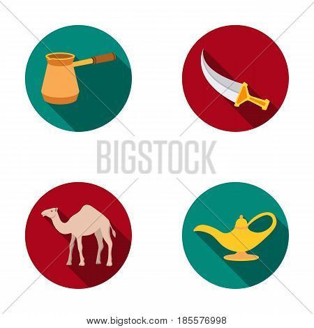 Cezve, Oil lamp, camel, snake in the basket.Arab emirates set collection icons in flat style vector symbol stock illustration .