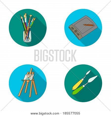 Bank with brushes, a drawing board, an easel with a canvas, paint knives.Artist and drawing set collection icons in flat style vector symbol stock illustration .