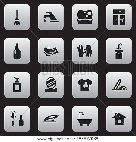Set Of 16 Editable Hygiene Icons. Includes Symbols Such As Unclean Blouse, Wall Mirror, Sink And More. Can Be Used For Web, Mobile, UI And Infographic Design.