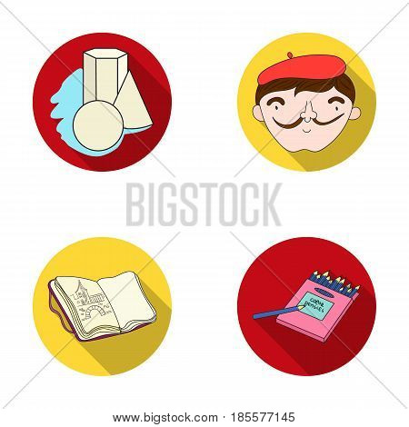 Geometric still life, a self-portrait of the artist, a notebook with drawings, a box of colored pencils.Artist and drawing set collection icons in flat style vector symbol stock illustration .
