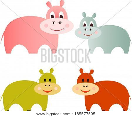 Isolated Colorful Hippopotamus Vectors, Animal Illustrations, Fauna