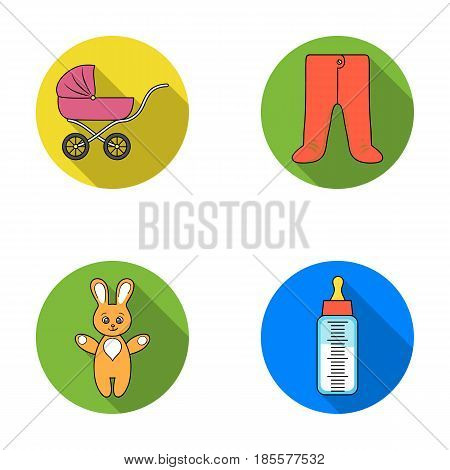 Stroller, bottle with a pacifier, toy, sliders.Baby born set collection icons in flat style vector symbol stock illustration .