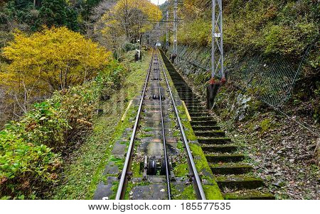 Cable Tram Line On The Mount Koya, Japan