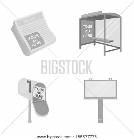 Newspapers, a bus stop, a mail box, a billboard.Advertising, set collection icons in monochrome style vector symbol stock illustration .