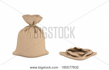3d rendering of two isolated money bags, full and empty. Earning and spending money. Wealth and poverty. Bank deposits.