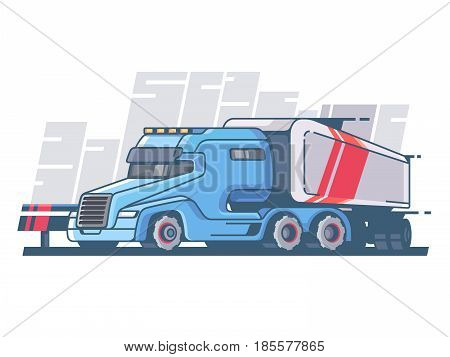 Large truck with long trailer for cargo transportation. Vector illustration