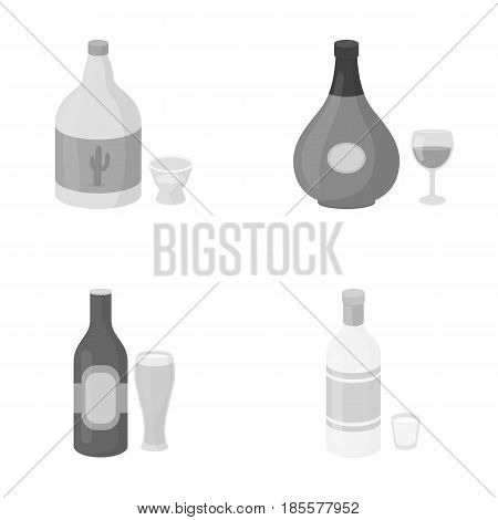 Tequila, cognac, beer, vodka.Alcohol set collection icons in monochrome style vector symbol stock illustration .