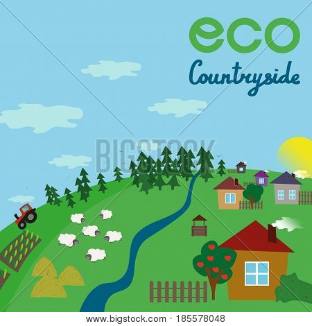 Countryside on a green hill. Blue sky with lettering. Vector flat illustration