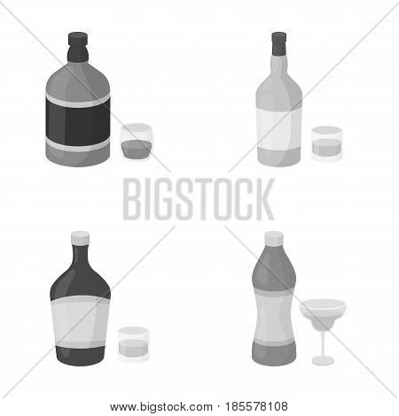 Whiskey, liquor, rum, vermouth.Alcohol set collection icons in monochrome style vector symbol stock illustration .