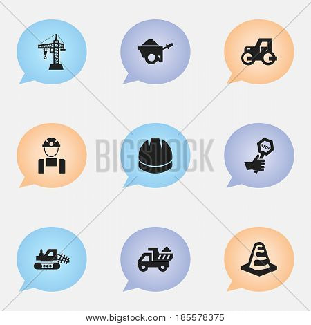 Set Of 9 Editable Structure Icons. Includes Symbols Such As Endurance, Elevator, Notice Object And More. Can Be Used For Web, Mobile, UI And Infographic Design.
