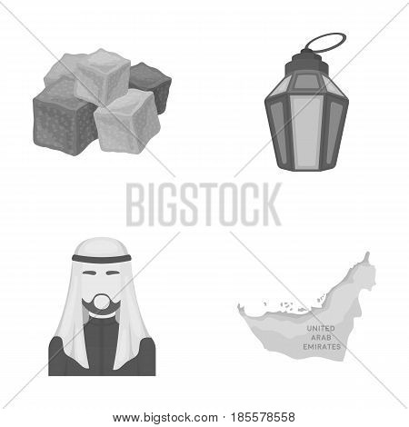 Eastern sweets, Ramadan lamp, Arab sheikh, territory.Arab emirates set collection icons in monochrome style vector symbol stock illustration .