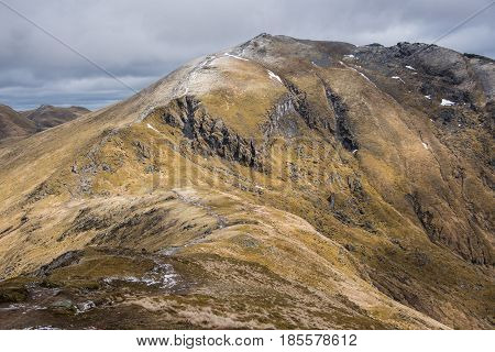 Ben Lawers is the highest mountain in the southern part of the Scottish Highlands at 1214m high. It lies to the north side of Loch Tay close to the village of Killin.