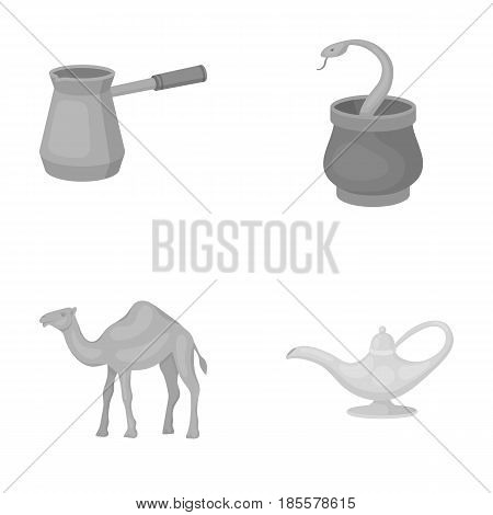 Cezve, Oil lamp, camel, snake in the basket.Arab emirates set collection icons in monochrome style vector symbol stock illustration .