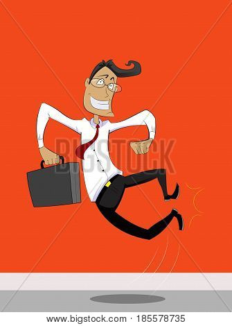 Illustration of jumping businessman tapping one's heels. Delight and enthusiasism concept illustration. Vector