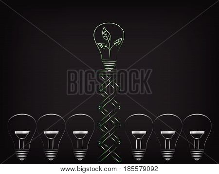 Lightbulb With Leaves Inside Pushed Up By Spring To Stand Out Among Others