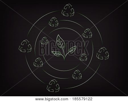 leaves surrounded by spinning recycle icons, concept of sustainable development to protect the environment (vector illustration on mesh background)