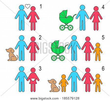 Vector creative infographic people icons relationship and family