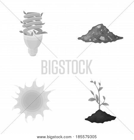 An ecological lamp, the sun, a garbage dump, a sprout from the earth.Bio and ecology set collection icons in monochrome style vector symbol stock illustration .