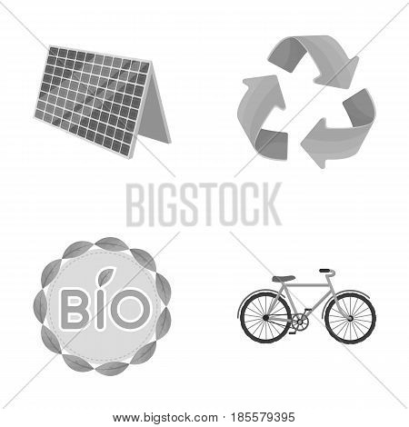 Bio label, eco bike, solar panel, recycling sign.Bio and ecology set collection icons in monochrome style vector symbol stock illustration .