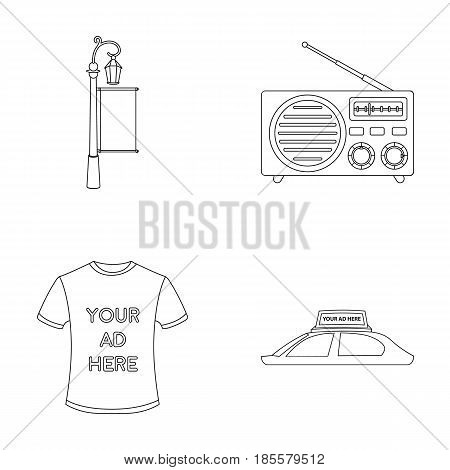 A lamppost with a sign, a T-shirt with an inscription, a radio, a car roof.Advertising, set collection icons in outline style vector symbol stock illustration .