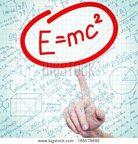 Formula Science or Education Background with Hand and Formulas on Student Page
