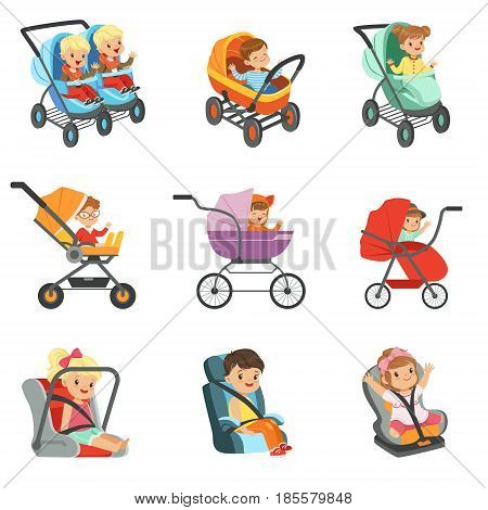 Baby carriage set. Different types of children transport colorful Illustrations isolated on white background
