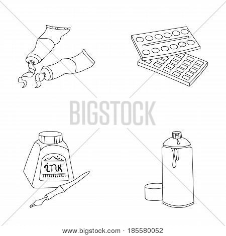 Paints, tubes with paint, watercolor in a box, ink in a bottle and a pen.Artist and drawing set collection icons in outline style vector symbol stock illustration .