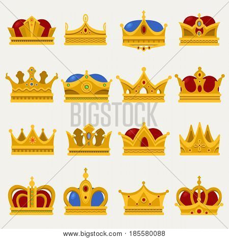 Monarch blinking crown or king, prince or pope tiara, queen or princess glowing headdress. Set of isolated golden royalty sign or imperial emblem with diadem. Jewelry and game award icon, victorian
