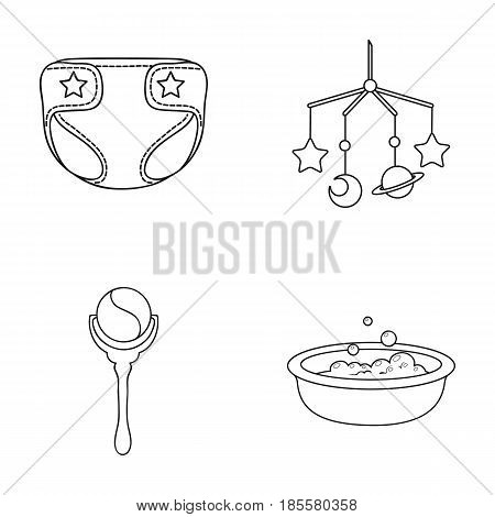 Children's diapers, a toy over the crib, a rattle, a children's bath.Baby born set collection icons in outline style vector symbol stock illustration .