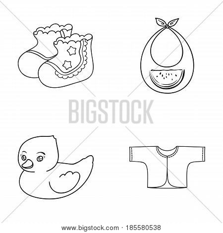 Socks, bib, toy duck. Baby born set collection icons in outline style vector symbol stock illustration .