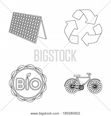Bio label, eco bike, solar panel, recycling sign.Bio and ecology set collection icons in outline style vector symbol stock illustration .