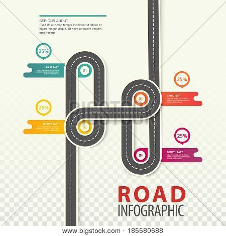 Highway infographics or road with dotted line and round charts on intersection with timings, car path top view template background, traffic map for travel and trips. Transport statistics infochart