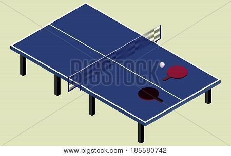 Isometric ping pong blue tennis table in vector