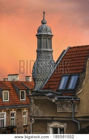 Roof turret of a townhouse during sunset