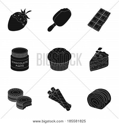 A set of chocolate sweets. Chocolate products for people. Chocolate desserts icon in set collection on black style vector symbol stock web illustration.