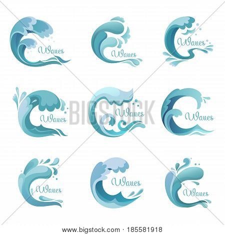 Set of isolated ocean or sea water waves or lake, river liquid. Wavy drops of stream wave splash icons or signs. Marine and nautical, tidal and oceanic, swimming and storm maritime, wet theme