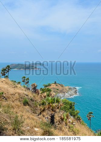 Phromthep cape viewpoint with stunning view of Andaman seascape in Phuket, Thailand
