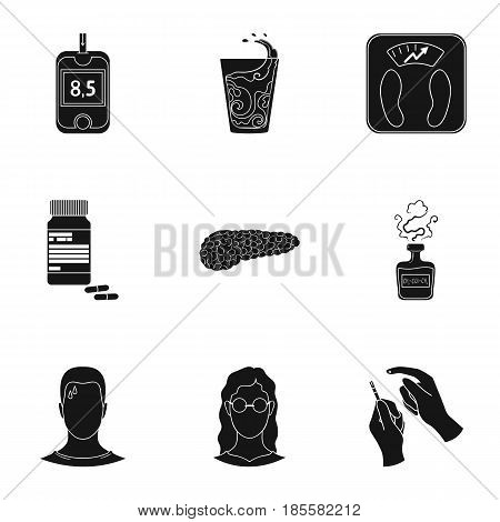 A set of icons about diabetes mellitus. Symptoms and treatment of diabetes. Diabetes icon in set collection on black style vector symbol stock web illustration.