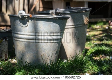 Close up of two rusty iron buckets in grass in the garden. Dirty gray metallic bucket with garbage on barnyard at sunny day. Gardening background. Containers for storing feed trash water paint