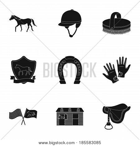 Races on horseback. Horse racing and equipping riders. Horse icon in set collection on black style vector symbol stock web illustration.