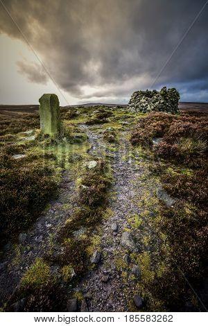 Border Stone Cairn Yorkshire Bleak Heather Moorland