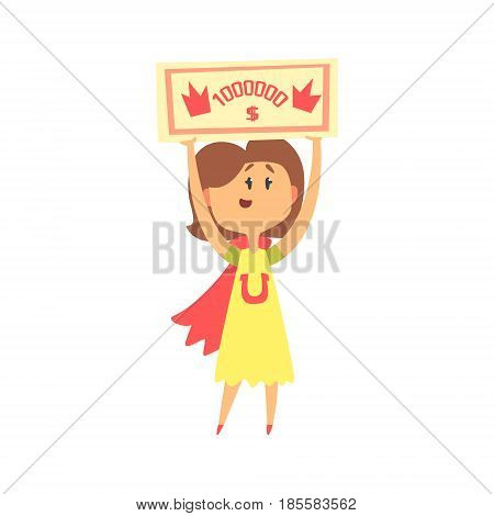 Cute cartoon woman with check for one million dollars in her hands. Colorful character vector Illustration isolated on a white background
