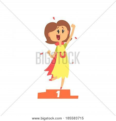 Cute cartoon woman standing on winner podium and holding her fist up. Colorful character vector Illustration isolated on a white background